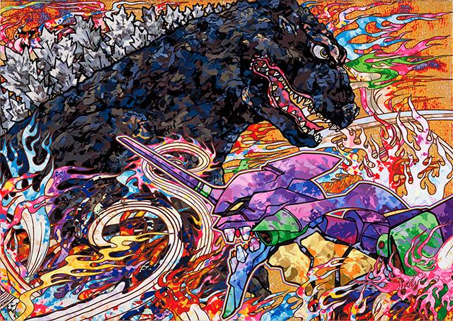 アニメ・マンガのキャラクターなどを日本絵画伝統の流れで描く村上氏の「ゴジラ対エヴァンゲリオン」は、これまでに公開されたコラボビジュアルとは全くイメージが